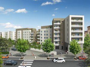 Loi Pinel Lyon 9 Lotissement d'immeubles blanc et gris en 3D. Ils sont précédés par une rue avec des voitures, des piétons et des arbres