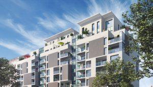 Logement Pinel Lyon immeuble immobilier facade balcon arbre projection 3d
