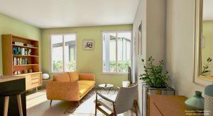 achat appartement lyon 7-salon meublé canapé fauteuil table basse tv 2 grandes fenêtres