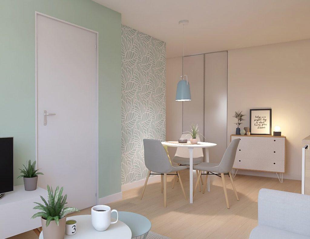 lmnp défiscalisation-salle à manger meublée parquet murs vert pastel lumière allumée
