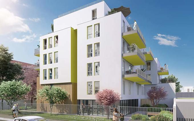 achat loi pinel-résidence neuve arbres rue passants ciel bleu