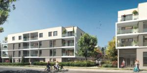 acheter un appartement neuf-résidence neuve espaces verts passants cyclistes ciel bleu