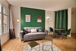 location meublée courte durée-salon meublé mur vert rideau vert parquet