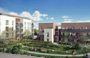 Meyzieu-résidence neuve espaces verts passants ciel bleu