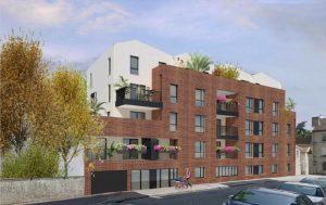 achat immobilier neuf-résidence neuve balcons fleuris arbres rue vehicules en stationnement passant avec une poussette ciel bleu