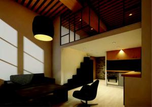 amortissement LMNP-salon meublé coin cuisine équipée mezzanine lumière allumée