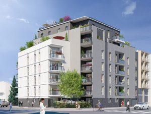 appartement neuf-résidence neuve balcons fleuris rue passants voitures ciel bleu