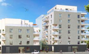 investir dans l'immobilier locatif-résidence neuve arbres plantes rue passants cycliste ciel bleu oiseaux