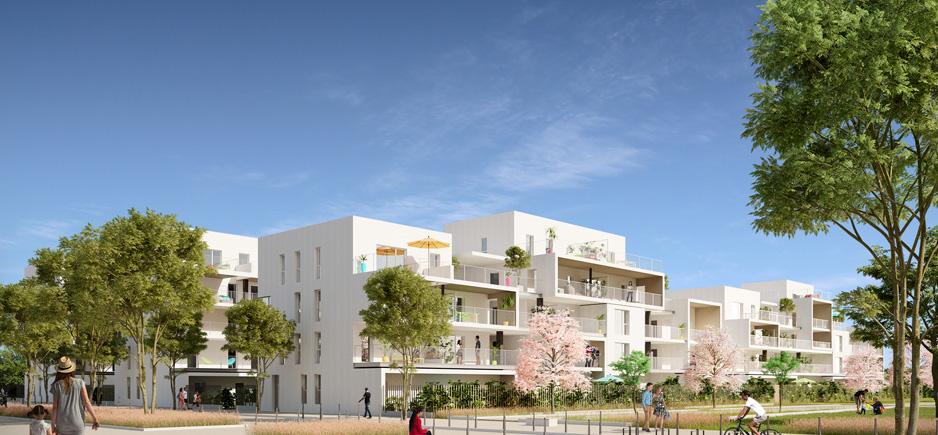 programme neuf villeurbanne-résidence neuve espaces verts passants ciel bleu