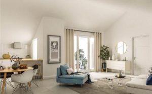 investir en loi pinel-séjour meublé coin cuisine rideau ouvert