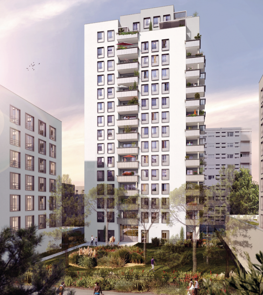 placement immobilier-residence neuve espaces verts passants ciel bleu