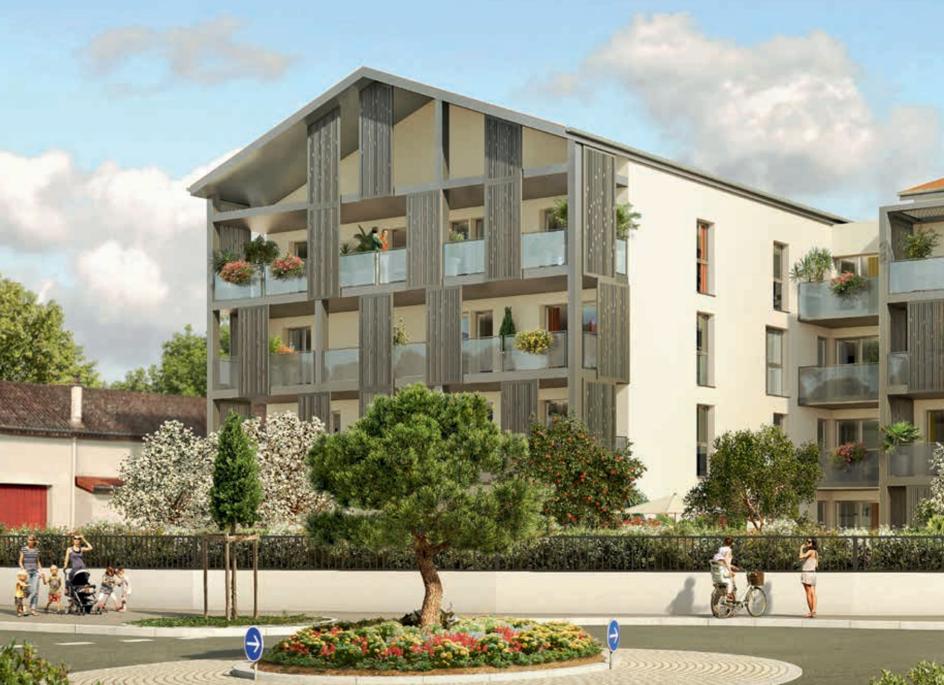 programme neuf craponne-résidence neuve balcons fleuris rue passants arbres ciel nuageux