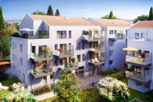 investisseur locatif- residence neuve balcons fleuries arbres ciel bleu