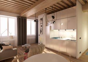 achat appartement meublé-séjour meublé cuisine équipée plafond bois parquet grandes fenêtres rideaux ouverts
