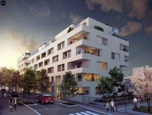 achat appartement neuf- résidence neuve rue arbres passants ciel sombre