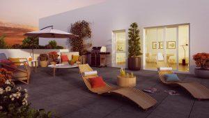 défiscaliser-terrasse salon de jardin parasol transats barbecue plantes couché de soleil