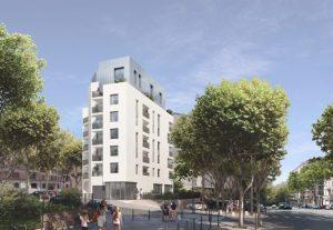 immobilier lyon 4-résidence neuve rue passants arbres ciel bleu