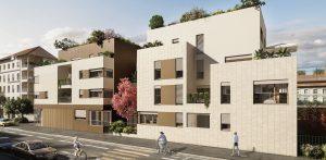 pinel lyon-residence neuve arbre plantes rue cyclistes ciel bleu