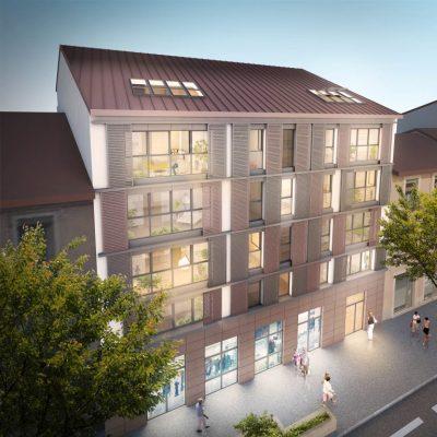 pinel villeurbanne-résidence neuve eclairée vue de nuit rue passants