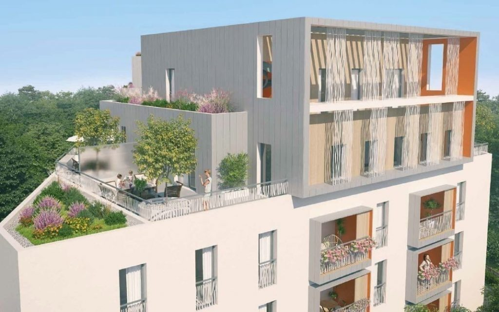 programme pinel villeurbanne-résidence neuve balcons fleuris arbres ciel bleu