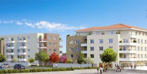 projet locatif-résidence neuve passants arbres voitures ciel bleu